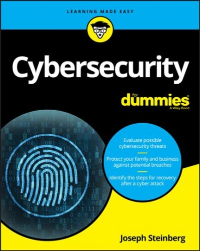 Yellow and blue book with white letters that say Cybersecurity