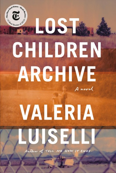 Image of landscape with children and a chain link fence with an airplane seen behind it--book cover